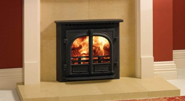 """Stovax Stockton 8 Inset - Not only will this Stovax Stockton 8 wood burning and multi-fuel inset convector stove provide impressive heating capacity compared to a standard open fireplace but it also offers you most of the benefits of our freestanding<a title=""""Stockton 8 stove"""" href=""""https://www.stovax.com/stove-fire/stockton-wood-multi-fuel-stoves/stockton-8/"""">Stockton 8 stoves</a>. The Stockton 8 Inset stove is highly practical too. It has full multi-fuel capability with external riddling, double doors for easy loading/stoking and both Cleanburn and convection systems for greater heating efficiency, whilst the highly effective airwash facility ensures that you enjoy a clearer view of the fire."""