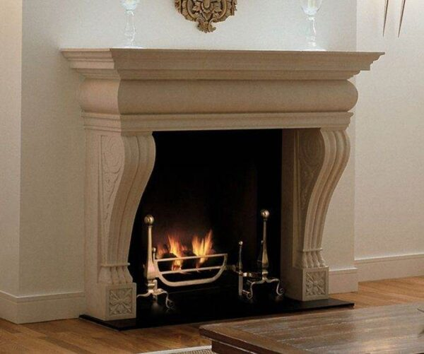 The Vicenza - A stone chimneypiece of Italianate design and impressive proportions with elegant console jambs and a generous mantel shelf.