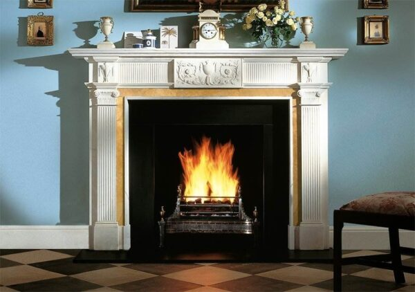 The Blenheim - The Blenheim is a grand fireplace in the style of William Chambers. It has fluted pilasters with Ionic capitals and a frieze which incorporates a central tablet with an urn and foliage.