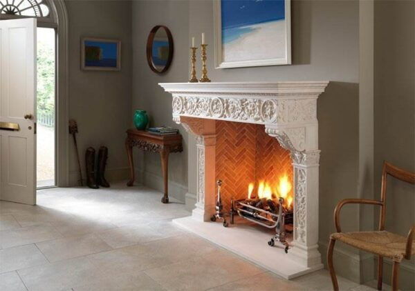 The Fiorenza - A new addition to the Chesney's Stone Collection, the Fiorenza is a copy of a Renaissance stone chimneypiece. It displays delicate carved detail to the pilasters and frieze and a generously proportioned mantel shelf.