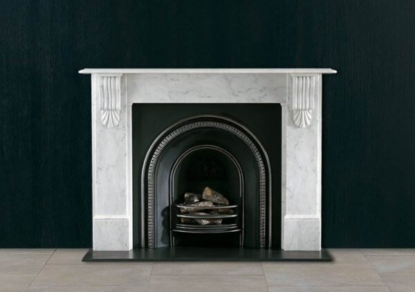 The Victorian Corbel - A late 19th century style marble surround with carved corbels supporting the bevelled edged shelf. Standard production material is Carrara marble priced as indicated. Also available in limestone.