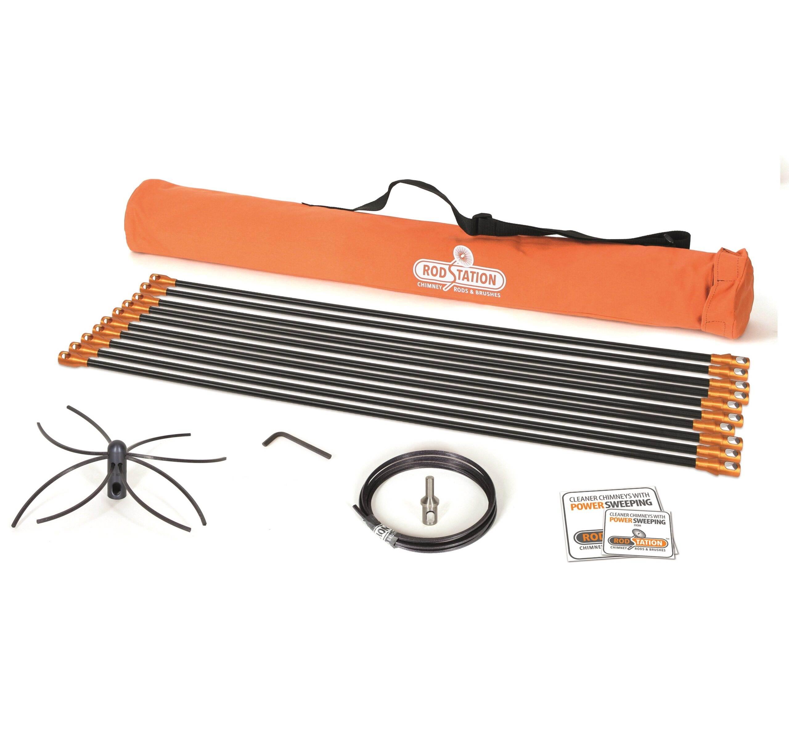 Chimney power sweeping kit for flexible liner