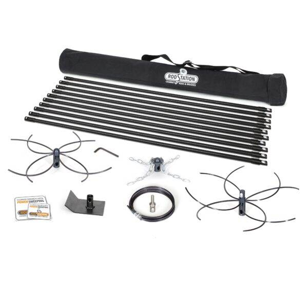 Chimney power sweeping kit for open fires and large chimneys