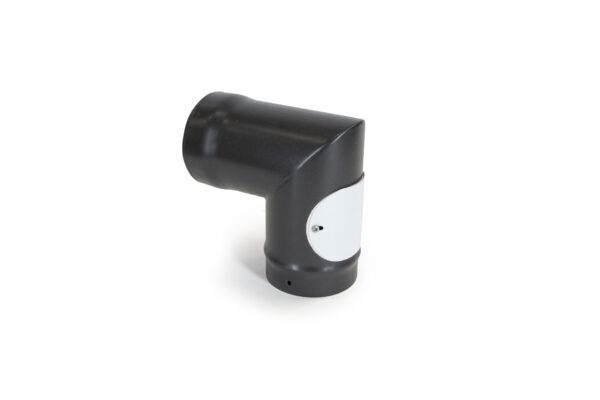 90° Bend with Access Door - Vitreous Enamel Flue Pipe - Matt Black