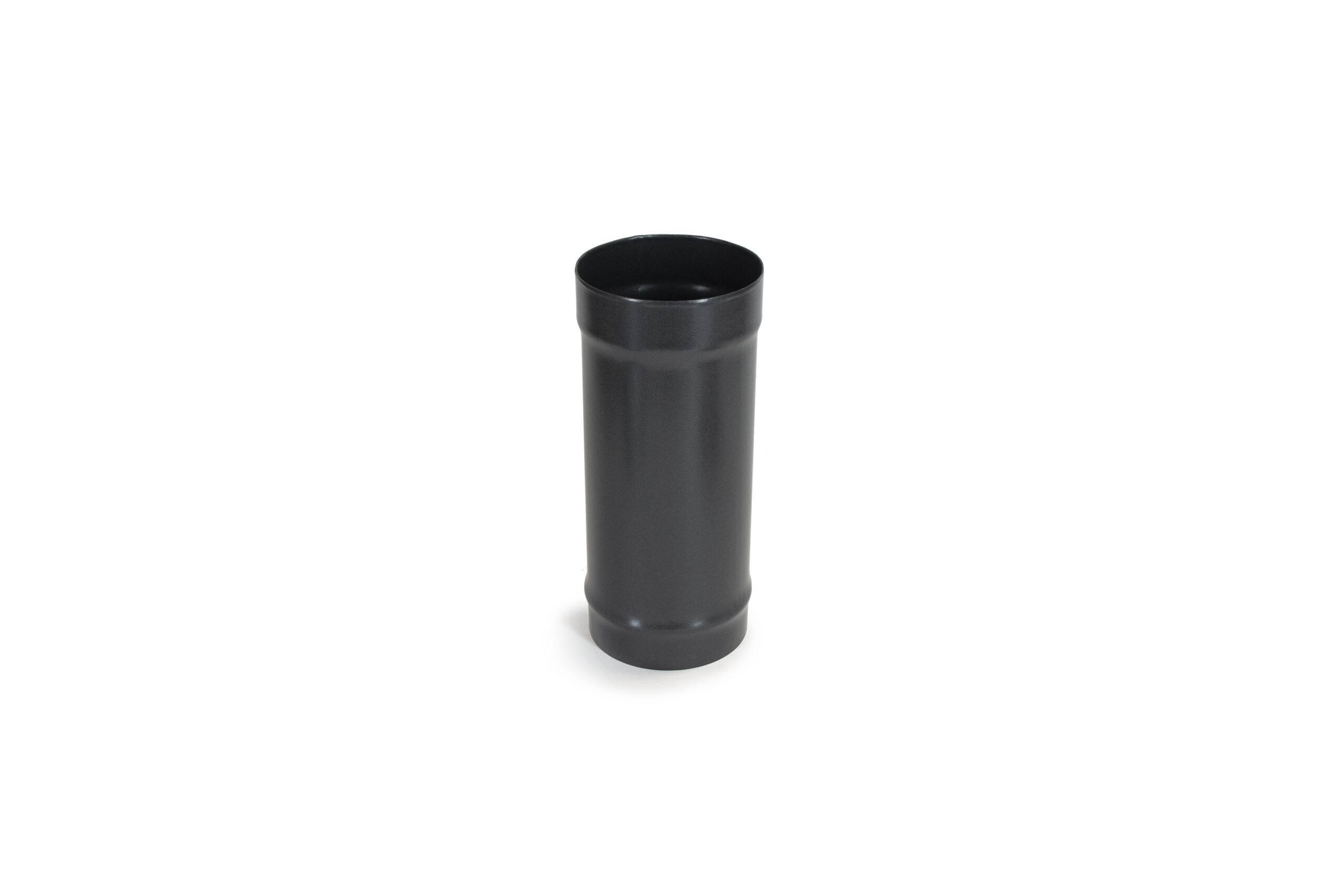 300mm (1ft) Length Pipe - Vitreous Enamel Flue Pipe - Matt Black