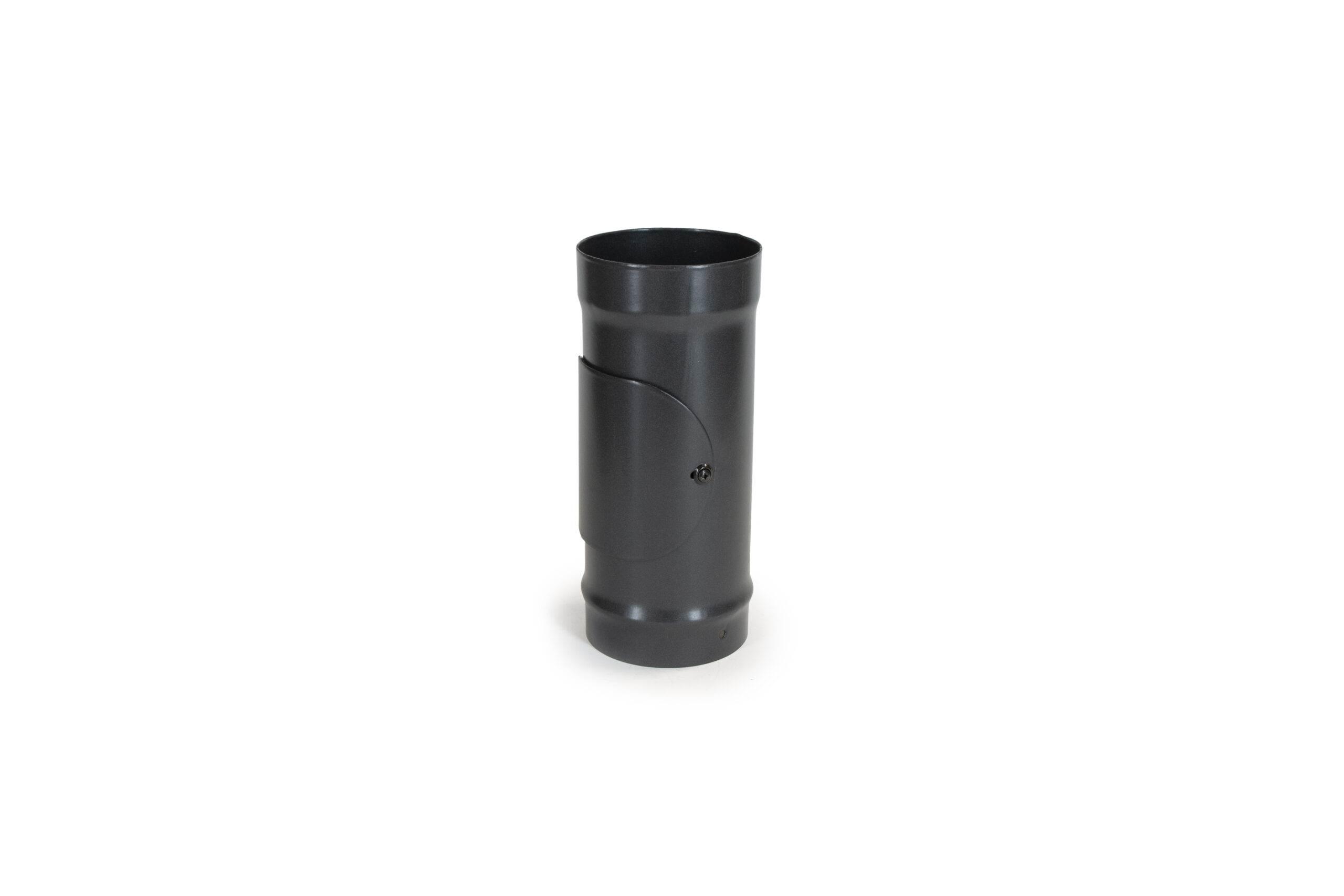 300mm (1ft) Pipe with Access Door - Vitreous Enamel Flue Pipe - Matt Black