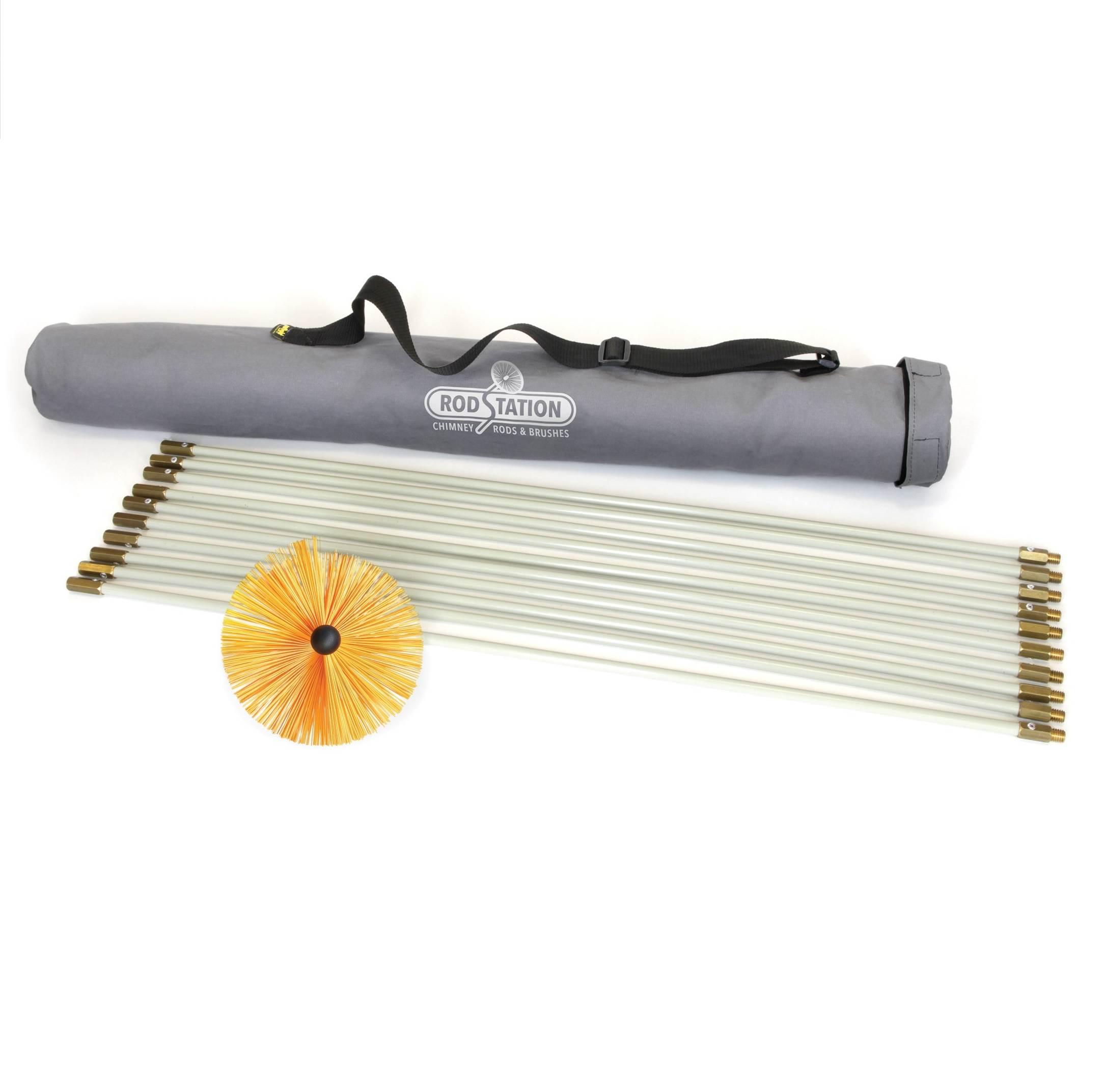 Chimney sweeping rod and brush kit