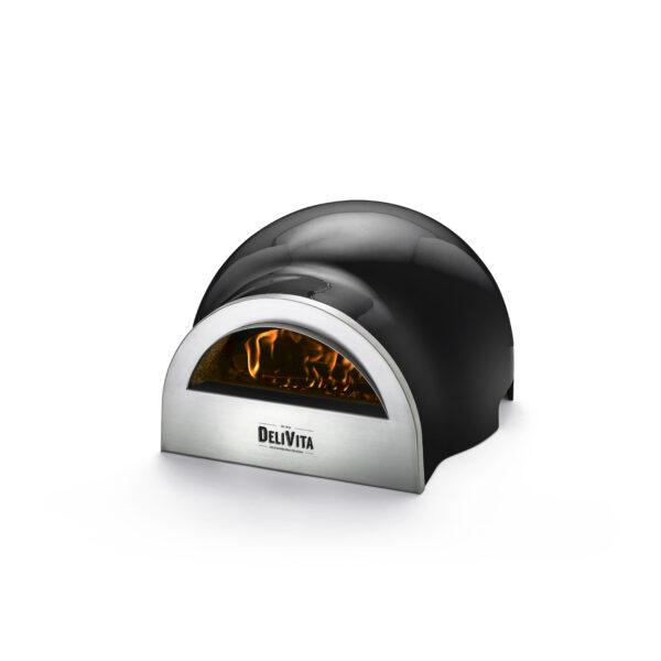 Delivita Wood Fired Pizza Oven - Very Black - These beautifully designed versatile ovens offer superb performance and weighing only 30kg are portable to enjoy anywhere. Crafted by hand and featuring a traditional clay interior, these ovens take time to create to our exacting standards. ...(but perfection is worth waiting for!)