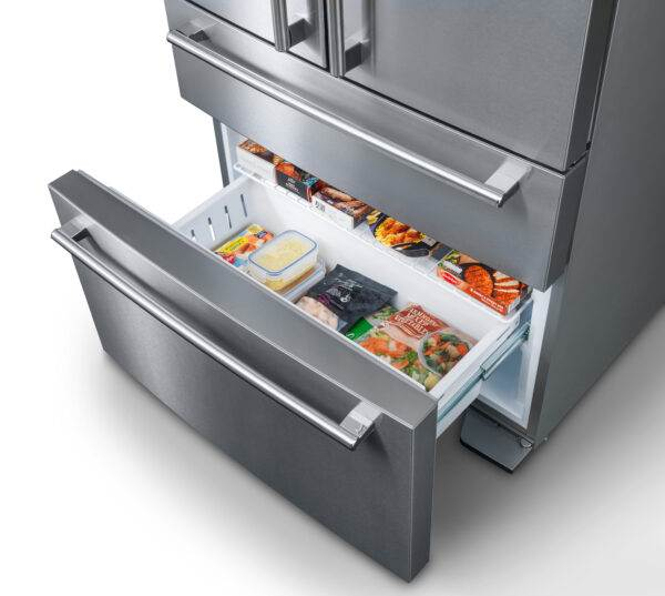 AGA DXD Fridge Freezer - Stainless Steel - With an A+ rating for energy efficiency, this fridge-freezer from AGA offers a host of new technologies and functions to ensure food is kept at its best for longer. With an impressive 557 litre net capacity this French-style fridge-freezer can cope with the demands of any family.