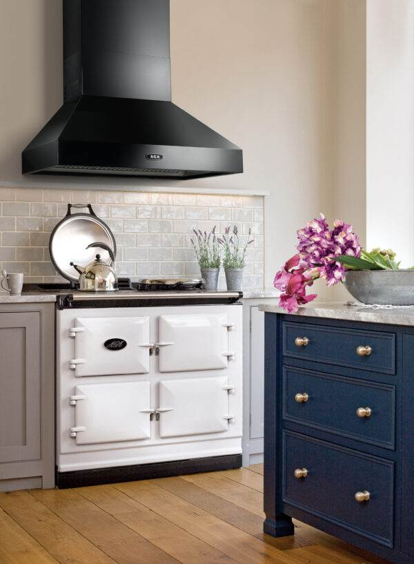 AGA Pitch Cooker Hood - Black - With a stylish pitch design, this hood has been designed to complement your AGA cooker in both look and performance, whilst creating the ideal environment for cooking. This hood works to rapidly clear your kitchen of steam, fumes and odours whilst cooking and offers a useful remote control to control the speed of extraction.