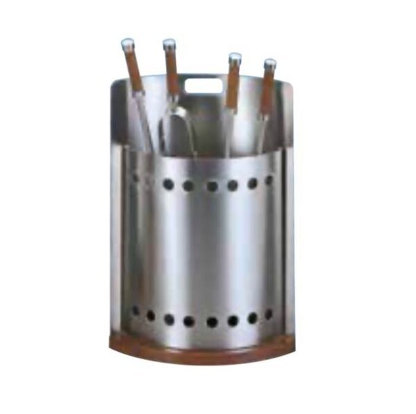 Contemporary stainless steel companion set - Oval stainless steel accessory holder with 4 wood handled tools.