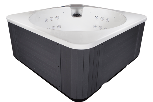 """Novitek Helmi hot tub - Finnish for """"pearl,"""" the Novitek Helmi is a true pearl on your yard. This compact hot tub fits well even on terraces. This hot tub has a classically beautiful design and a round inner tub. Its clear and ergonomic design makes it a perfect oasis of relaxation for anyone. The seats equipped with massage jets pamper four bathers at a time. Helmi is white on the inside, and the cabinet is a beautiful gray composite paneling."""