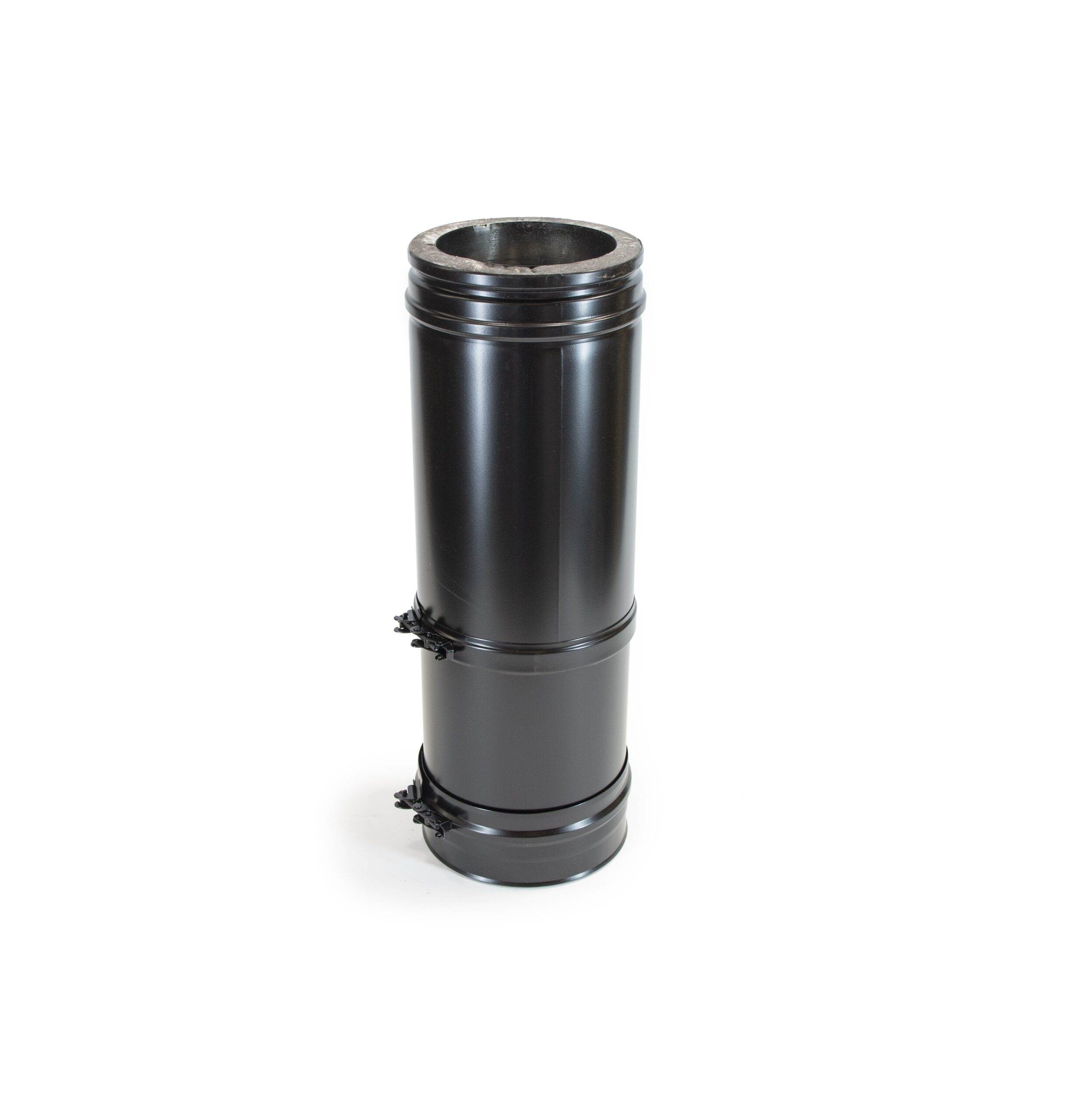 Adjustable Length 375-585mm - Schiedel ICS Twin Wall Flue - Black Powder Coated
