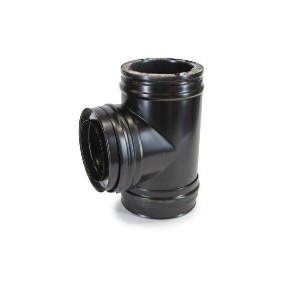 90° Tee - Schiedel ICS Twin Wall Flue - Black Powder Coated