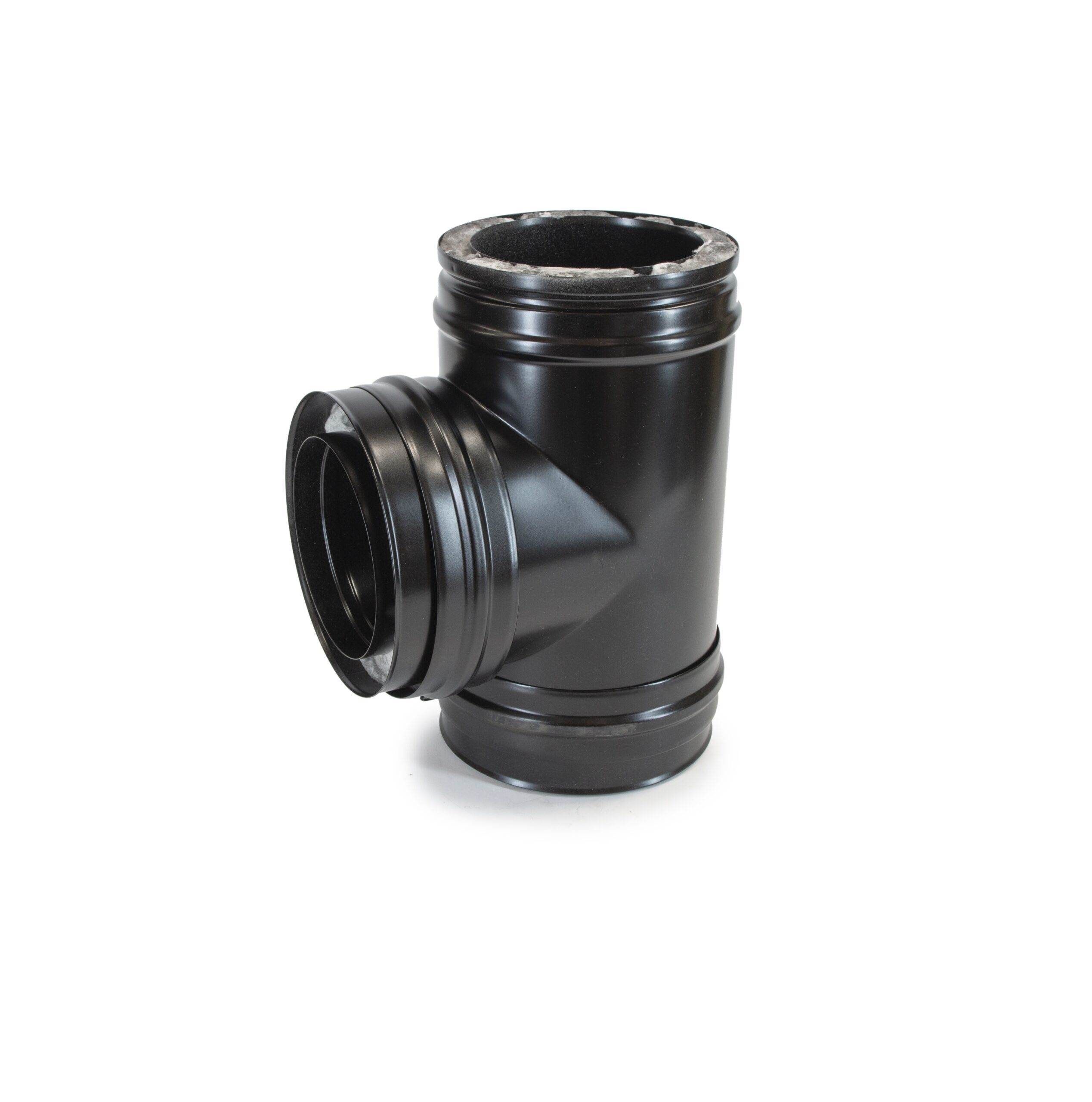 90° Tee - Schiedel ICS Twin Wall Flue - Black Powder Coated
