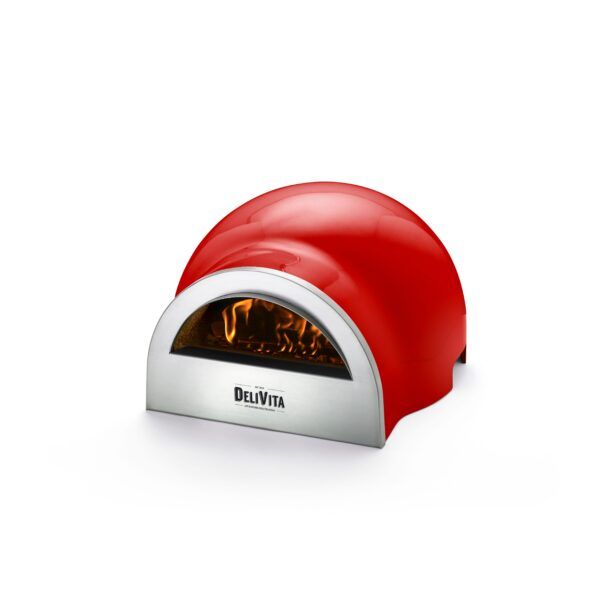 Delivita Wood Fired Pizza Oven - Chilli Red - These beautifully designed versatile ovens offer superb performance and weighing only 30kg are portable to enjoy anywhere. Crafted by hand and featuring a traditional clay interior, these ovens take time to create to our exacting standards. ...(but perfection is worth waiting for!)