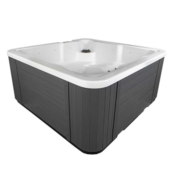 Novitek Luosto dual-lounger hot tub - The Luosto is a compact family hot tub, providing a bathing experience for five people. The design of the Luosto model is suitable to even the little family members and offers different seat depths for everyone. Luosto is white on the inside, and the cabinet is a beautiful gray composite paneling.   <ul>  <li>Insulated grey cover</li>  <li>Cover lifter bracket</li>  <li>Steps</li>  <li>Chemical starter pack</li>  <li>Filter</li> </ul>