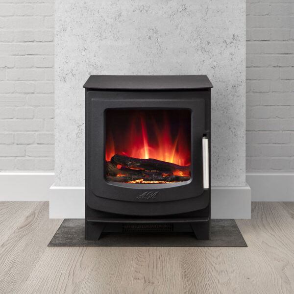 Aga Ellesmere EC5 Electric Stove - The new Ellesmere electric stoves from AGA are both stylish and perform brilliantly. With a 0.9kW to 1.9kW heat output, these modern stoves can be easily sited anywhere in your home. Stoves in this range have steel bodies and cast iron doors and only require a 13amp power supply.  Complete with a remote control to allow you to control the heat output and the flame picture, this electric stove looks fantastic in both contemporary and traditional spaces. The Ellesmere EC5 achieves an A for energy efficiency and measures 43.8cm wide, 53.5cm in height.