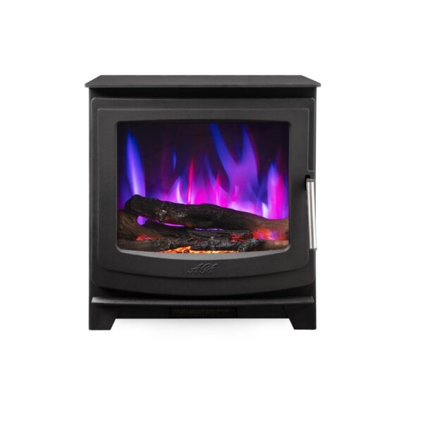 Aga Ellesmere EC5 Widescreen Electric Stove - Complete with a remote control to allow you to control the heat output and the flame picture, this electric stove looks fantastic in both contemporary and traditional spaces. The Ellesmere EC5W is our wider electric stove and achieves an A for energy efficiency and measures 57.5cm wide x 60.5cm height.