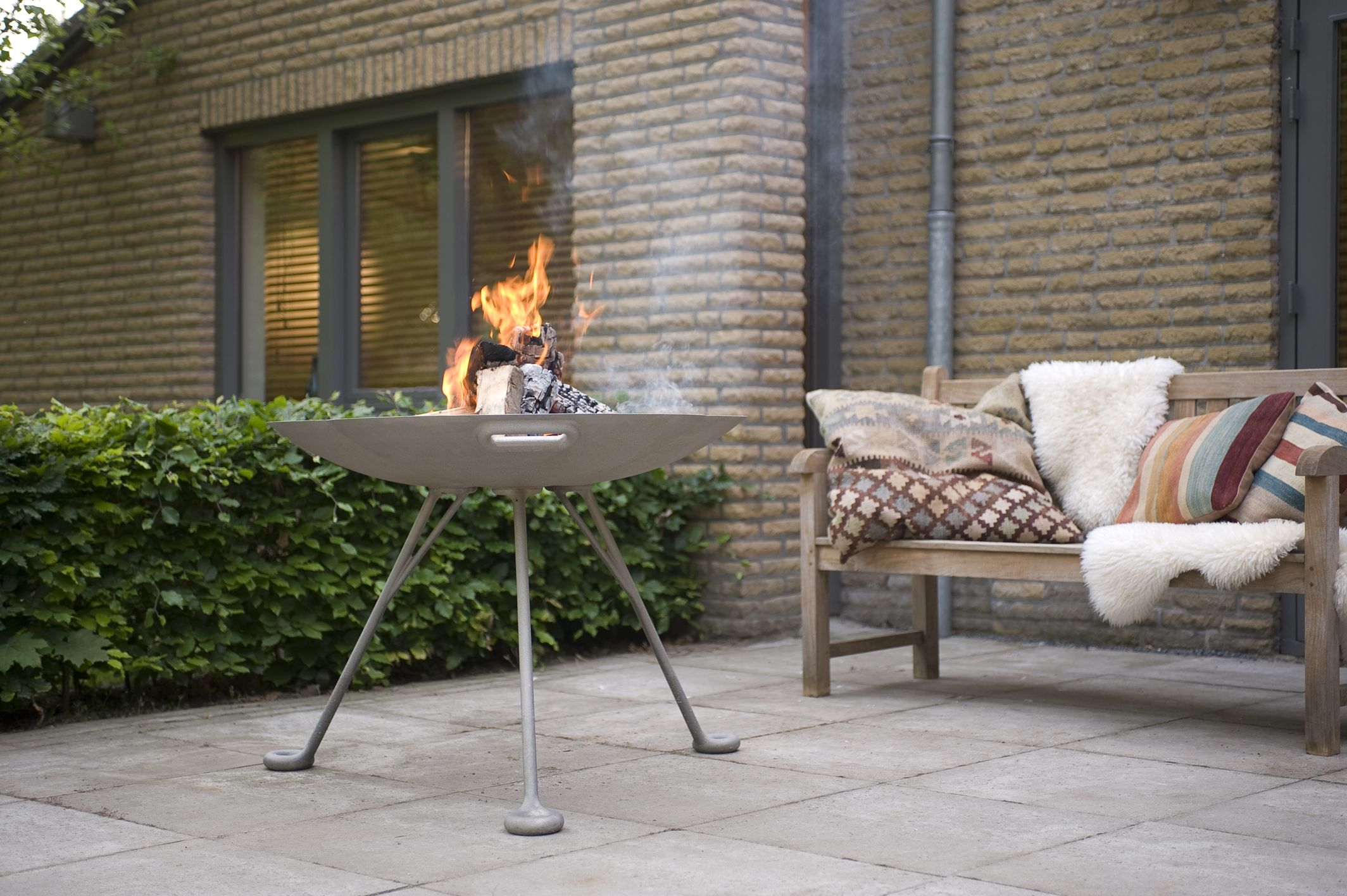 Lotus Cast Aluminium Firebowl - High