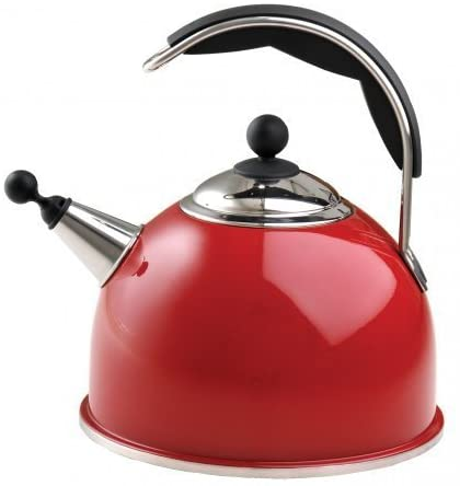 AGA Stainless Steel Whistling Kettle - Red - The Aga Stainless Steel Whistling Kettle features an improved shape and wide base for efficient boiling. Available in cream, black, and polished stainless steel, they include an insulated easy grip handle and an encapsulated base for excellent heat transfer. Capacity 2.5ltr 10 year guarantee.