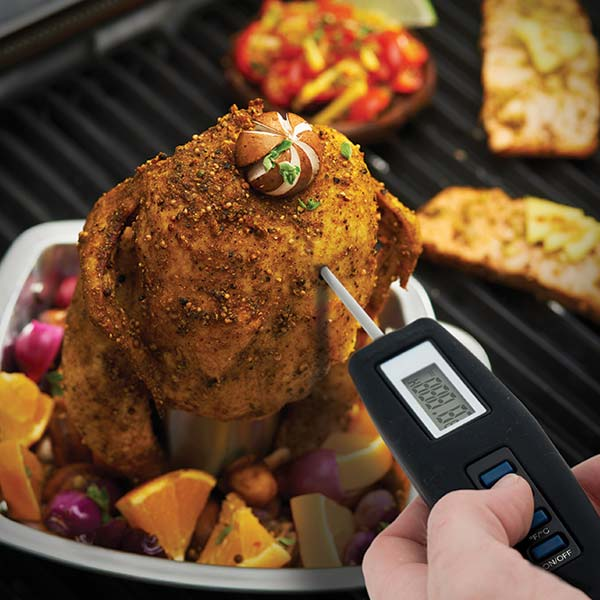 Broil King Folding Instant Thermometer - A folding digital thermometer with micro probe tip. Quick accurate readings. Soft outer shell and backlit screen. On / Off Hold features, temperatures can be displayed in both degrees F or C.