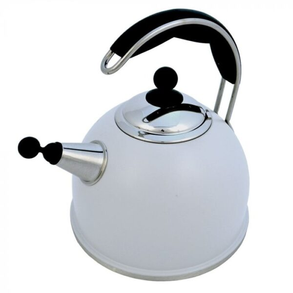AGA Stainless Steel Whistling Kettle - Pearl Ashes - The Aga Stainless Steel Whistling Kettle features an improved shape and wide base for efficient boiling. Available in cream, black, and polished stainless steel, they include an insulated easy grip handle and an encapsulated base for excellent heat transfer. Capacity 2.5ltr 10 year guarantee.