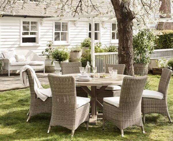 Neptune Harmondsworth 6 Seater Round Table - Harmondsworth is an outdoor dining table with a character that's refreshingly uncomplicated. It looks and feels solid, made from weighty, but crisp-edged, cuts of teak. It also has a striking leg design that visually (and literally) support the substantial tabletop.