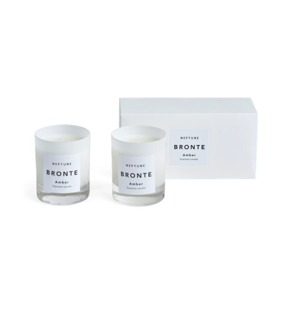 Neptune Bronte Amber Scented Candle - White, Set of 2 - These candles come in weighty, frosted glass vessels (glossy outside, matte inside). Because they're white, they stay looking neat as the wax burns down. As well as single or double sets in present-ready boxes, Bronte also comes in two scents: Amber and Verveine. They're both citrusy, but this one, Amber, is warmer, sweeter and a bit spicy.