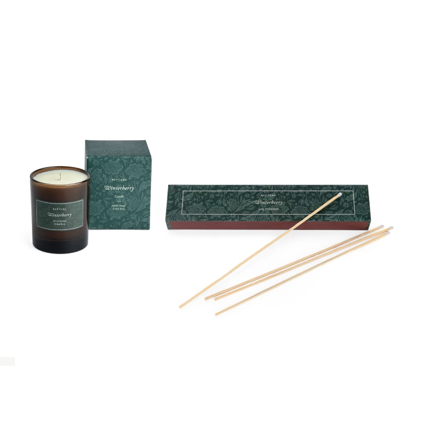 Neptune Winterberry Spiced Orange & Red Berry Candle & Long Matches