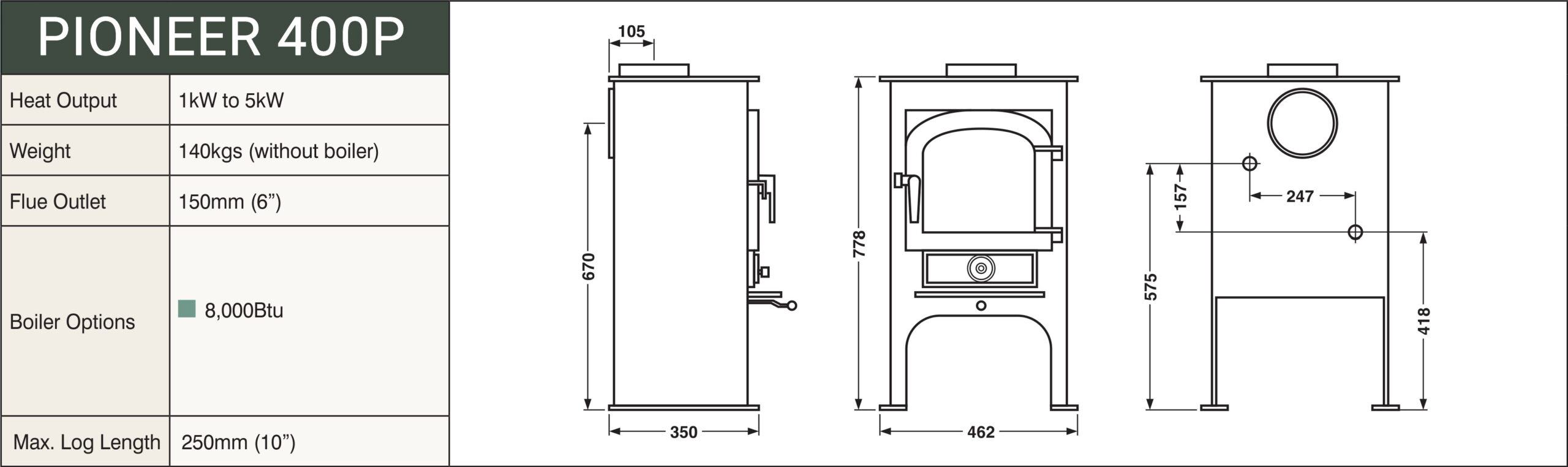 Clearview Pioneer 400P Woodburning Stove - Clearview Stoves Size schematic