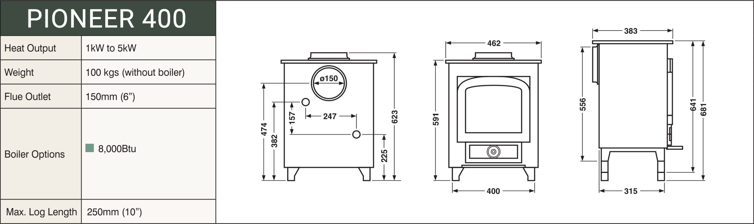Clearview Pioneer 400 Multifuel Stove - Clearview Stoves Size schematic
