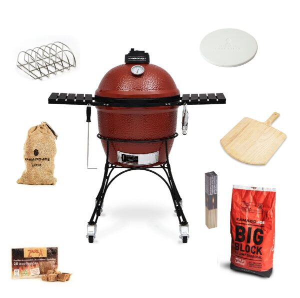 Kamado Joe - Classic GET GRILLING Pizza & Rib Bundle - The kamado that set a new high standard for craftsmanship and innovation, our Kamado Joe Classic features a thick-walled, heat-resistant shell that locks in smoke and moisture at any temperature. Beneath the easy-open dome, a large cooking surface crafted from commercial-grade 304 stainless steel provides ample space for 10?12 fillets or chicken breasts. Other standard features include a flexible Divide & Conquer cooking system, a heavy-duty rolling cast iron cart, a precision ventilation dial and a patented slide-out ash drawer for easy access and cleaning.    <strong>Scroll down to see what's included in this bundle.</strong>