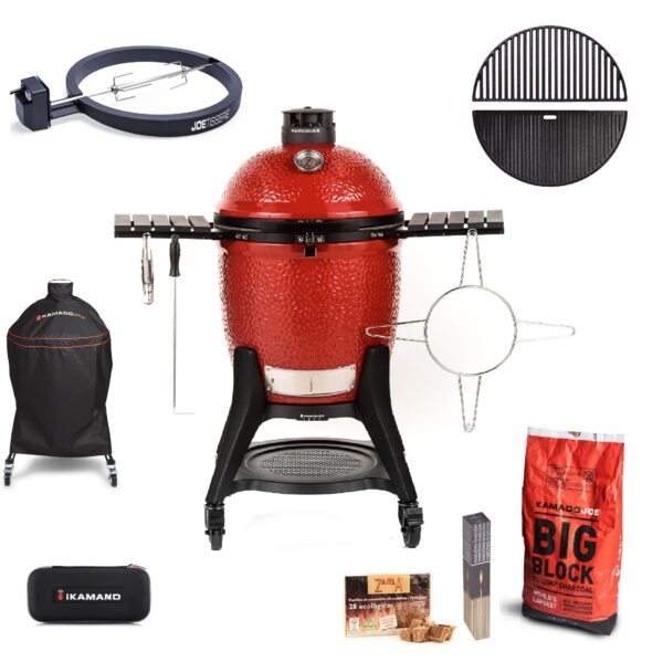 """Kamado Joe - Classic III PRO JOE Bundle - The Kamado Joe ? Classic III includes the newest innovation, the revolutionary SloRoller Hyperbolic Smoke Chamber insert. Harnessing the power of cyclonic airflow technology to control heat and smoke, the SloRoller insert is designed to perfect the taste and texture of food on low-and-slow cooks up to 500?F, and is easily swapped out for heat deflector plates when searing or grilling at higher temperatures. As with its predecessor, the Classic II, it also features a thick-walled, heat-resistant shell that locks in smoke and moisture at any temperature.    <span style=""""color: #ff0000;"""">*Please note the iKamand is currently out of stock and will be dispatched as soon as it becomes available.</span>    <strong>Scroll down to see what's included in this bundle.</strong>"""