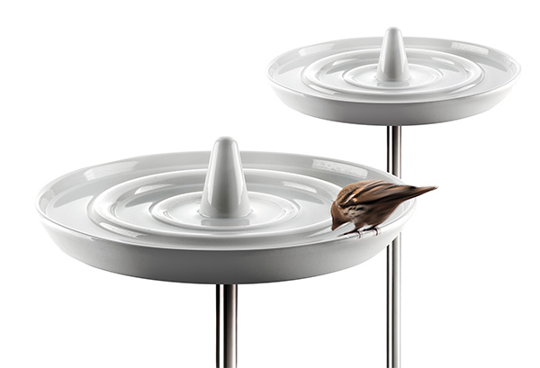 Eva Solo Ceramic Bird Bath - The elegant Eva Solo birdbath is designed for the bird that has everything – and makes bathing an even more pleasurable experience for the birds. The luxury birdbath is shaped like a drop falling in water, and is made of white-glazed porcelain. Each ring in the water forms its own level, which ensures that the little creatures can avoid getting completely soaked when dipping their beaks – regardless of size. 
