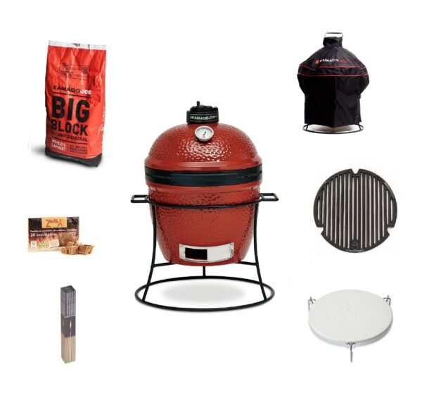 Kamado Joe - Joe Junior Bundle - The unique kamado cooking experience is transportable for the first time ever with Kamado Joe?s innovative Joe Jr. Perfect for picnics, pool parties, camping and more, Joe Jr. weighs only 31 Kg and boasts a 377 square-centimetre cooking surface?ample space for a full beer can chicken with vegetables. The thick-walled ceramic body locks in heat, moisture and flavor, and the heat deflector plate allows cooks to experiment with indirect heat for more flexible cooking.    <strong>Scroll down to see what's included in this bundle.</strong>