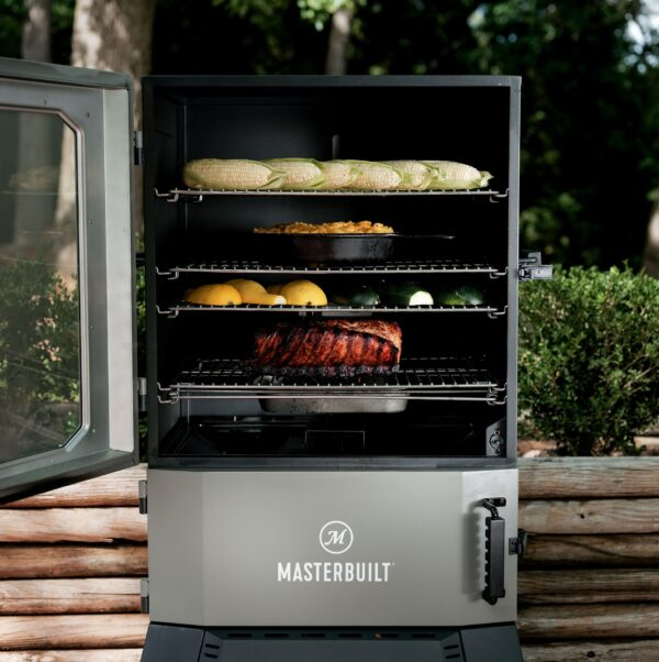 Masterbuilt Digital Charcoal Smoker - The Masterbuilt? Digital Charcoal Smoker is the first of its kind ? smoked charcoal flavor with digital controls. Set the temperature on the digital control panel or your smart device and the DigitalFan? maintains the desired cooking temperature. The charcoal tray holds 16lbs of briquette charcoal or 12lbs of lump charcoal for up to 13 hours. Master the art of charcoal smoking with Masterbuilt.