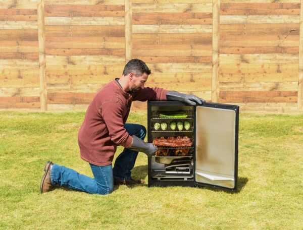 """Masterbuilt 30"""" Digital Electric Smoker - Perfect for the beginner or the pro, you?ll achieve competition-ready results in your own backyard without the hassle of charcoal or propane. Simply plug this smoker in, set the digital controls, and it does the work! The patented side wood chip loader lets you experiment with flavor without opening the smoker door.?Master the art of smoking with Masterbuilt ."""