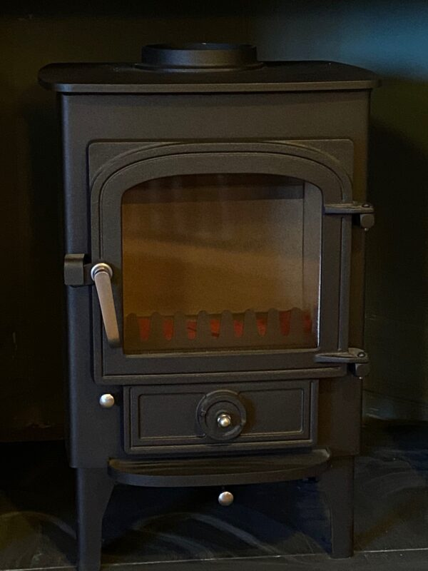 """Clearview Pioneer in Black with chrome handles and 6"""" legs- Ex Display - One of Topstak's best selling stoves there are many thousands of Clearview Pioneer stoves in use so you can buy with confidence of high quality craftmanship, performance and support. Clearview Stoves have a great reputation and are certainly the most popular and reliable stoves that we sell.  This Clearview Pioneer is ex display (unused) in black with chrome handles and 6"""" legs."""