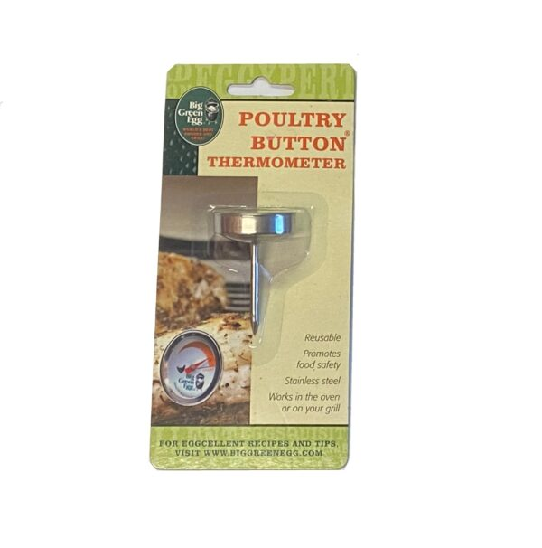 Button Thermometer for Poultry - The Big Green Egg button thermometers are reusable and made from stainless steel to clearly display the appropriate temperatures for cooking meats.