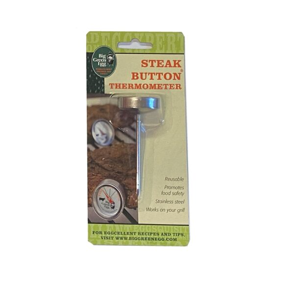 Big Green Egg Button Thermometer (for Steak) - The Big Green Egg button thermometers are reusable and made from stainless steel to clearly display the appropriate temperatures for cooking meats.
