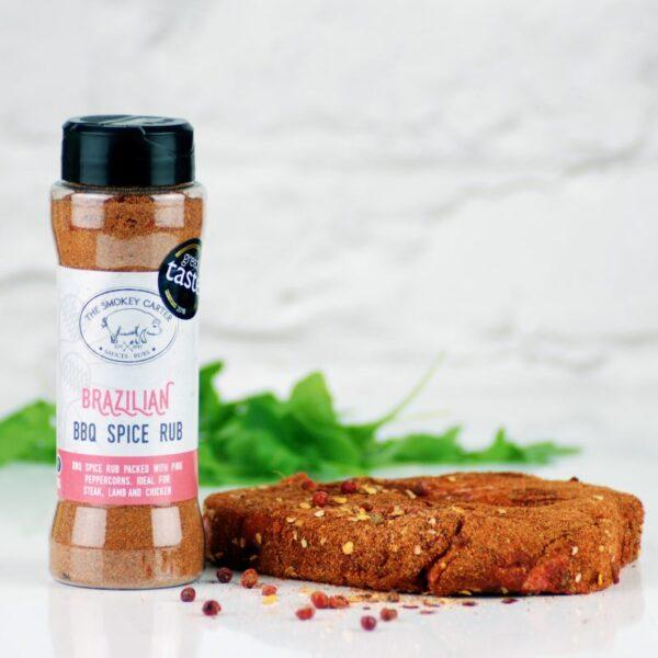 Brazillian BBQ Spice Rub - 1 x Brazilian Spice Spice Rub (90g Rub Shaker) (Gold Star Winner Great Taste Awards 2018) Packed with pink peppercorns, amazing on steak, lamb, chicken & roast potatoes. Ingredients; Paprika, pink peppercorns, salt, chilli blend, pepper, garlic, ginger, cumin, coriander, onion powder, all spice, cinnamon.