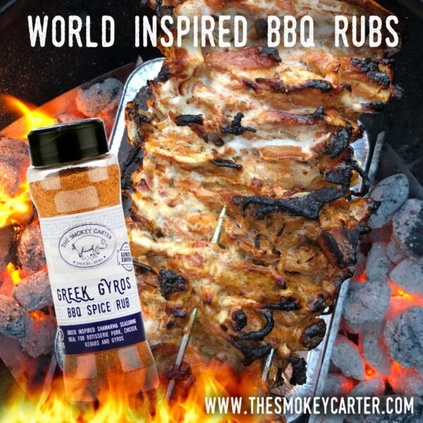 PITMASTER GREEK GYROS RUB - Greek Gyros BBQ Spice Rub Shaker (90g Rub Shaker) ? As this was one of the most popular Limited Edition Rubs, it is now part of the core Smokey Carter range! Greek inspired shawarma seasoning, ideal for rotisserie pork, chicken, kebabs and gyros.