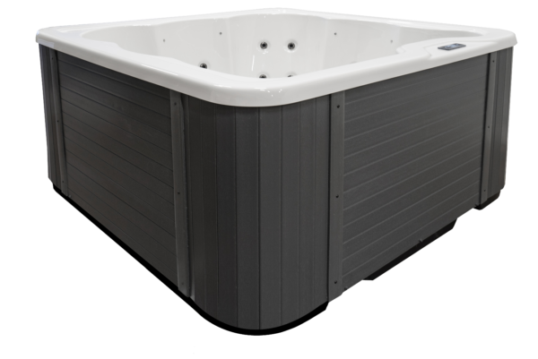 Novitek Ruka hot tub - Ruka is a small outdoor hot tubs with great possibilities. A lounge seat, 2 deeper seats and 3 smaller seats offer a lot of variation for up to 6 bathers. The hot tub is very easy to use with its two-stage pump. Ruka is white on the inside, and the cabinet is a beautiful grey composite panelling.