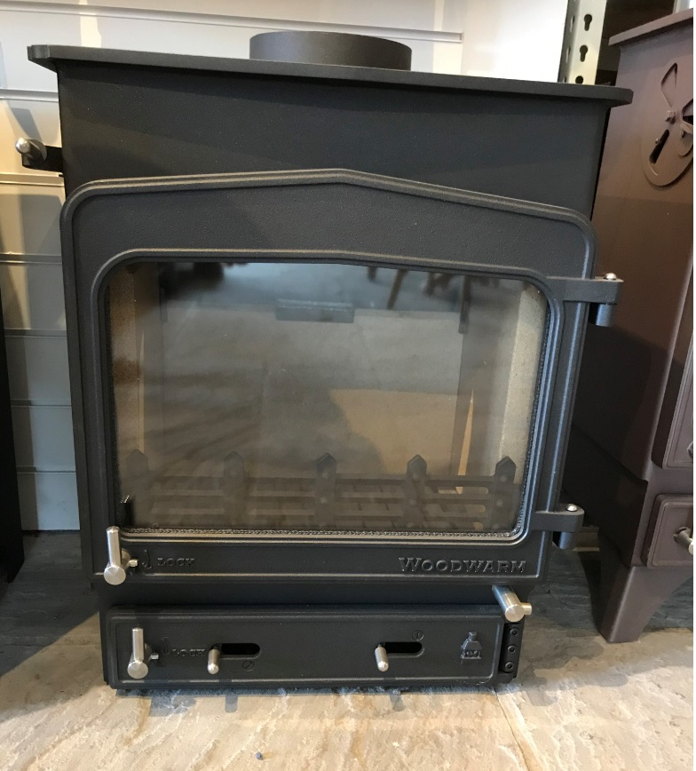 Woodwarm Fireview 6Kw in black with Stainless Steel Fittings- Ex Display