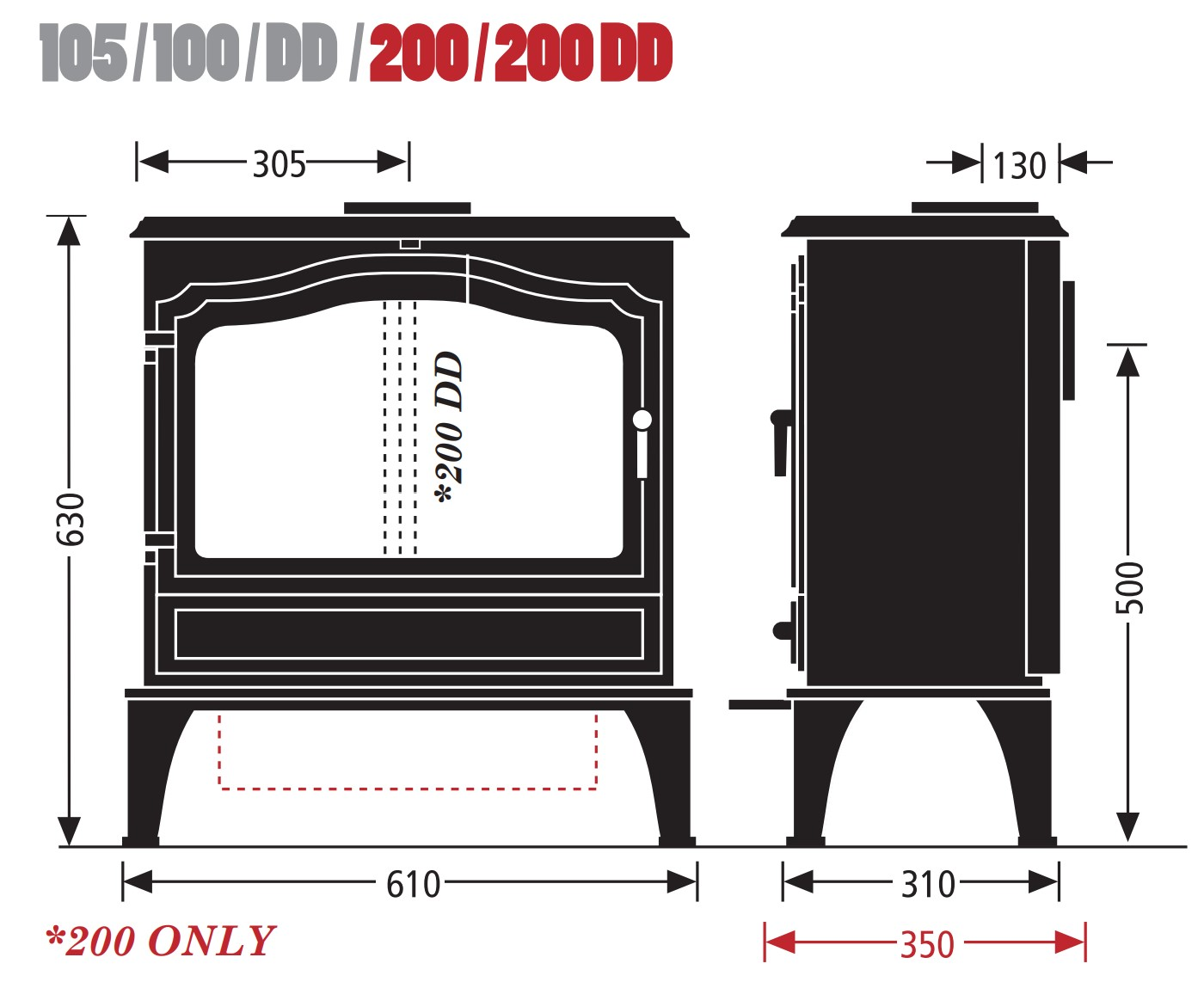 Esse woodburning stove - model 105/100/DD/200/200DD - dimensions / schematic