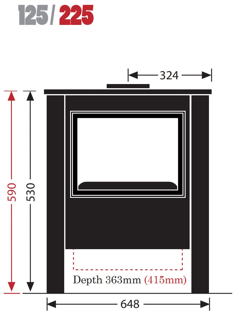 Esse woodburning stove - model 125/225 - dimensions / schematic