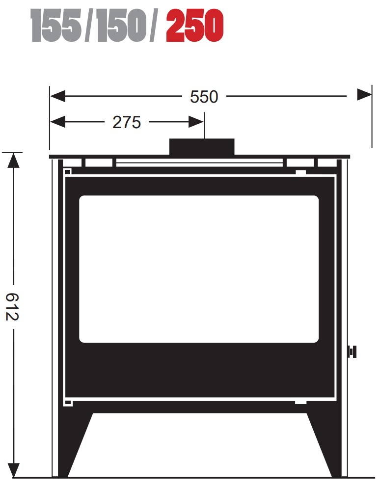 Esse woodburning stove - model 155/150/250 - dimensions / schematic