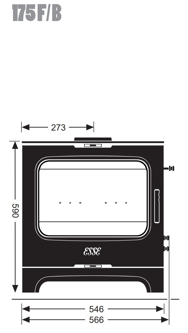 Esse woodburning stove - model 175F/B - dimensions / schematic
