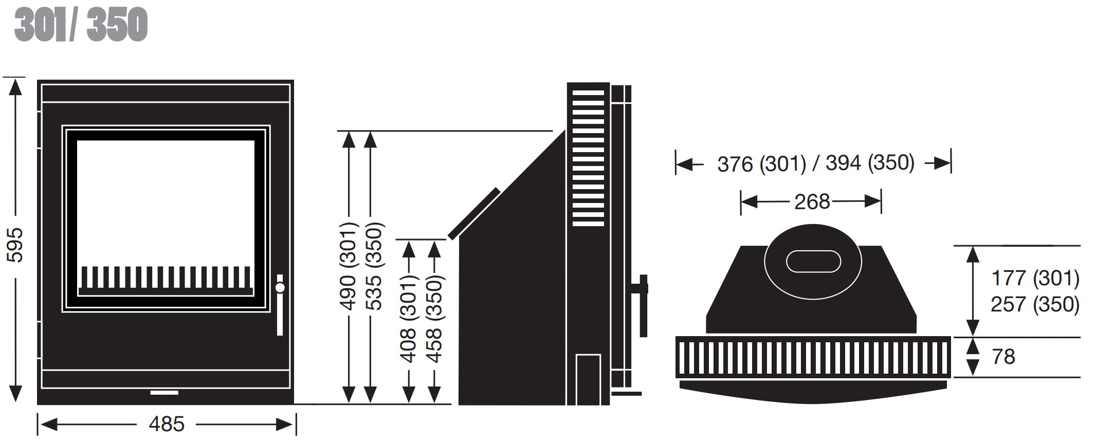 Esse woodburning stove - model 301/350 - dimensions / schematic